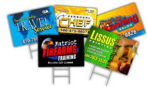 picture of yard signs with creative messages and graphics