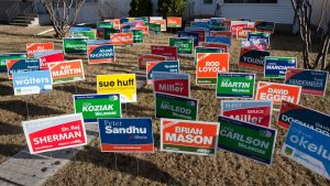 picture showing dozens of yard signs and lawn signs