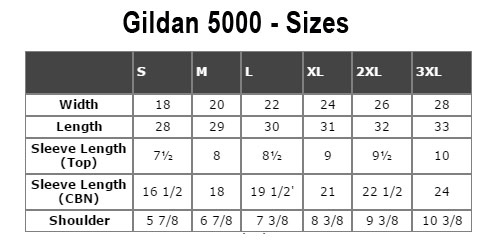chart that shows specific dimensions of this specific model of t-shirts: Gildan 5000