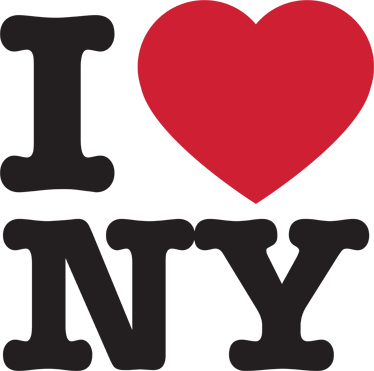 "Iconic logo that reads ""I love New York"""