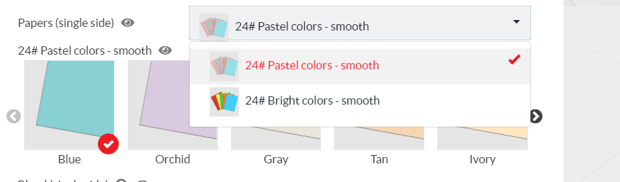 A selection of brigh color paper and pastel color paper is offered for color copies