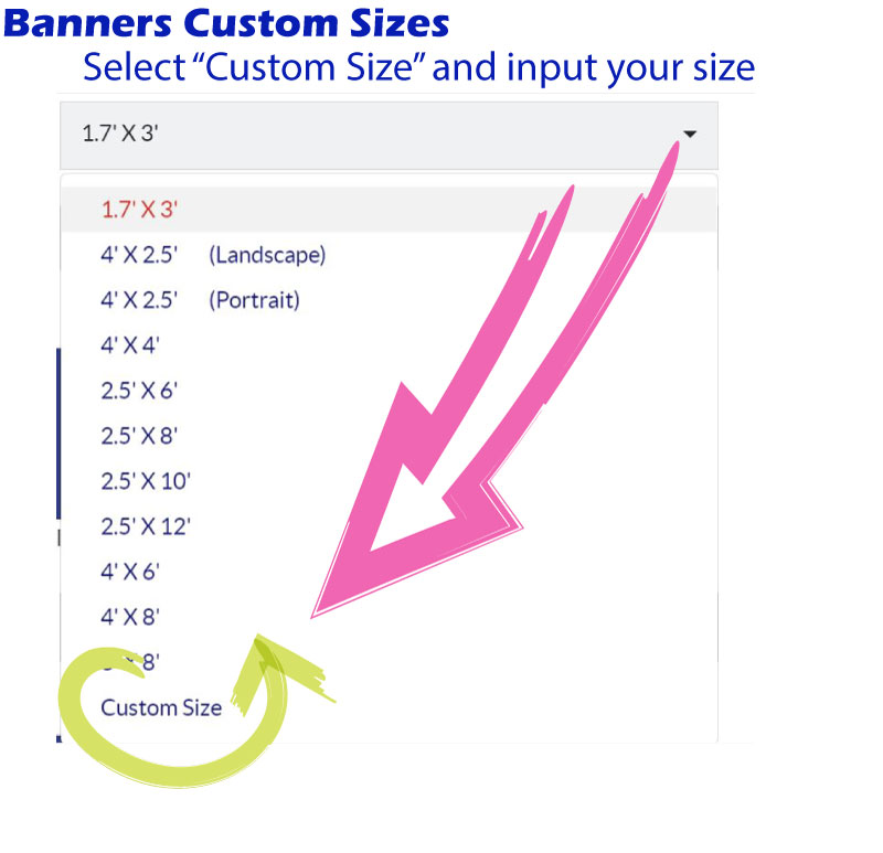 This image shows how to select Custom Size option so that you can fully customize your banner