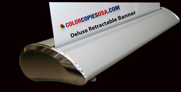 Picture of a Deluxe Retractable Banner Stand showing the nice oval shape