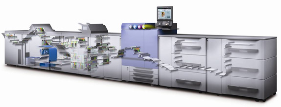Image of a digital printing production line showing the paper path