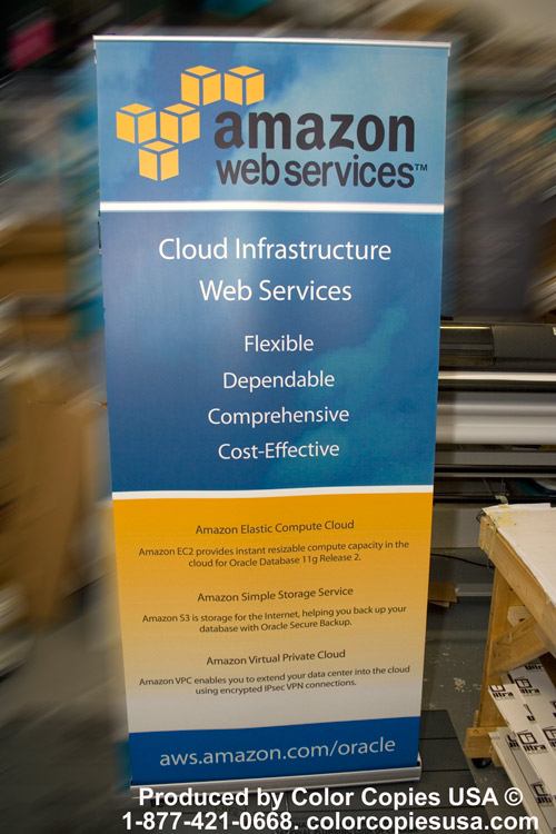 Amazon Web Services asked Color Copies USA to print a retractable banner for a trade show