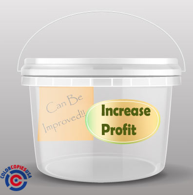 "picture of a bucket that is identified with a label that reads ""INCREASE PROFIT"". There is a sticky note inside showing that the items in this bucket are items that can become more profitable to resturants."