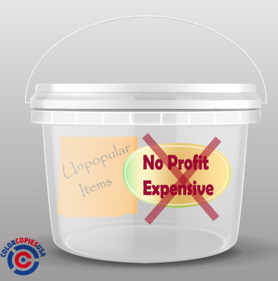 "picture of a bucket that is identified with a label that reads ""NO PROFIT + EXPENSIVE"". There is a sticky note inside showing what type of information to collect in this bucket"