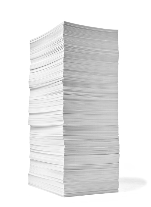 Image of a pile of sheets representing printed copies