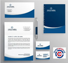 The picture shows items that belong to an identity kit or pattern that we suggest businesses develop in order to function as a healthy company. There is an envelope, letterhead, business cards, notepages and pens