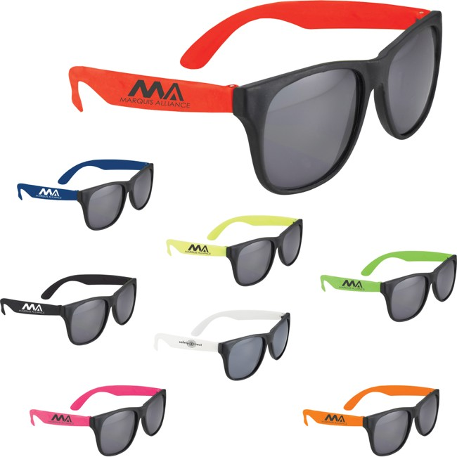 Promo items: sunglasses with logo or badge