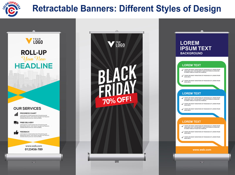 The picture shows examples of design of retractable banners setting different tones according to the requirement