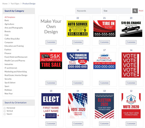 screen shot of the website's page for Yard Signs showing that there are many graphic templates ready to customize |  ColorCopiesUSA.com