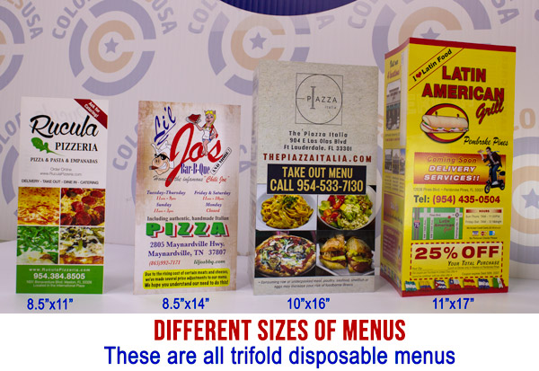picture of trifold menus in different sizes