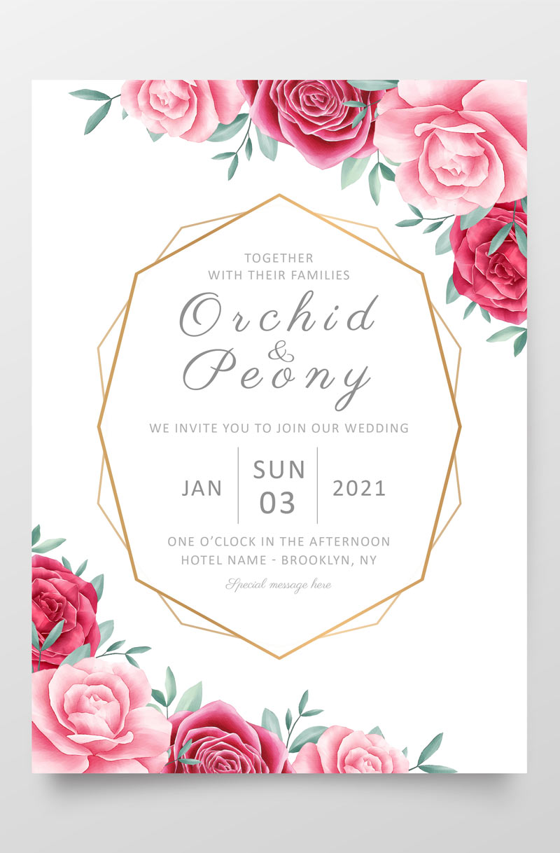 example of a 5 x 7 invitation that fits into A7 envelopes