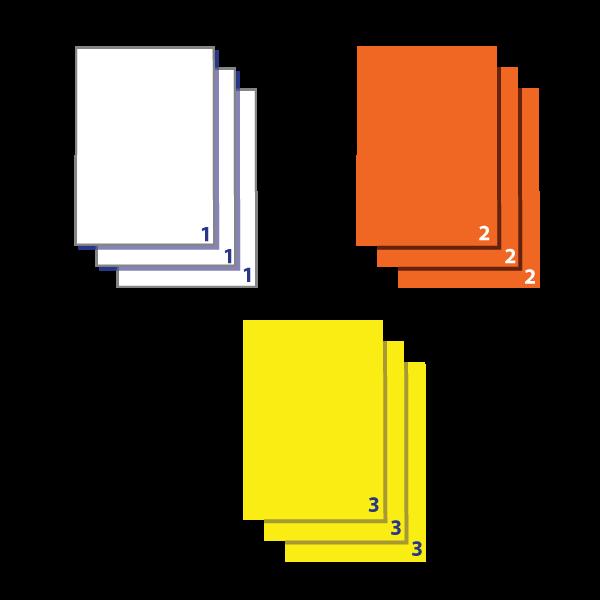 Separate groups of  identical copies
