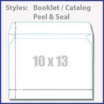 10x13 envelopes with flap either on short or long side available. Also available with easy peel and seal