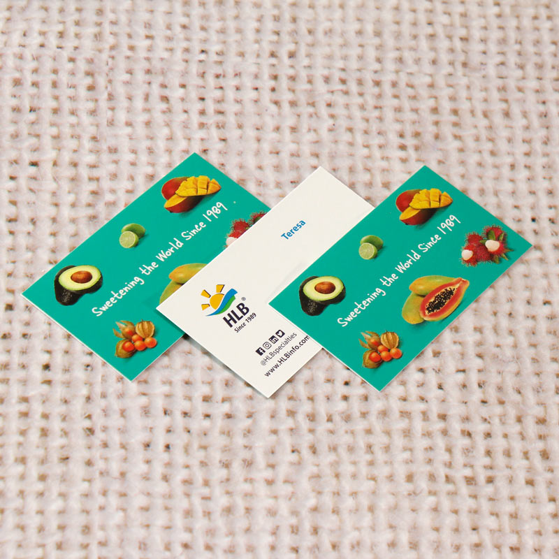 business cards printed on 14pt or 16pt  cardstock with UV varnish
