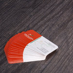 16 pt cover stock business cards with full UV coverage and rounded corners in 4 corners
