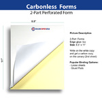 Regular 2 part forms printed on carbonless paper