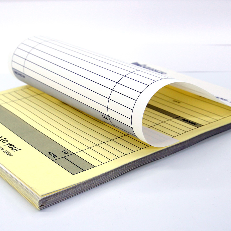 2 part forms - carbonless or NCR showing the white top sheets, and the second, canary-yellow sheet