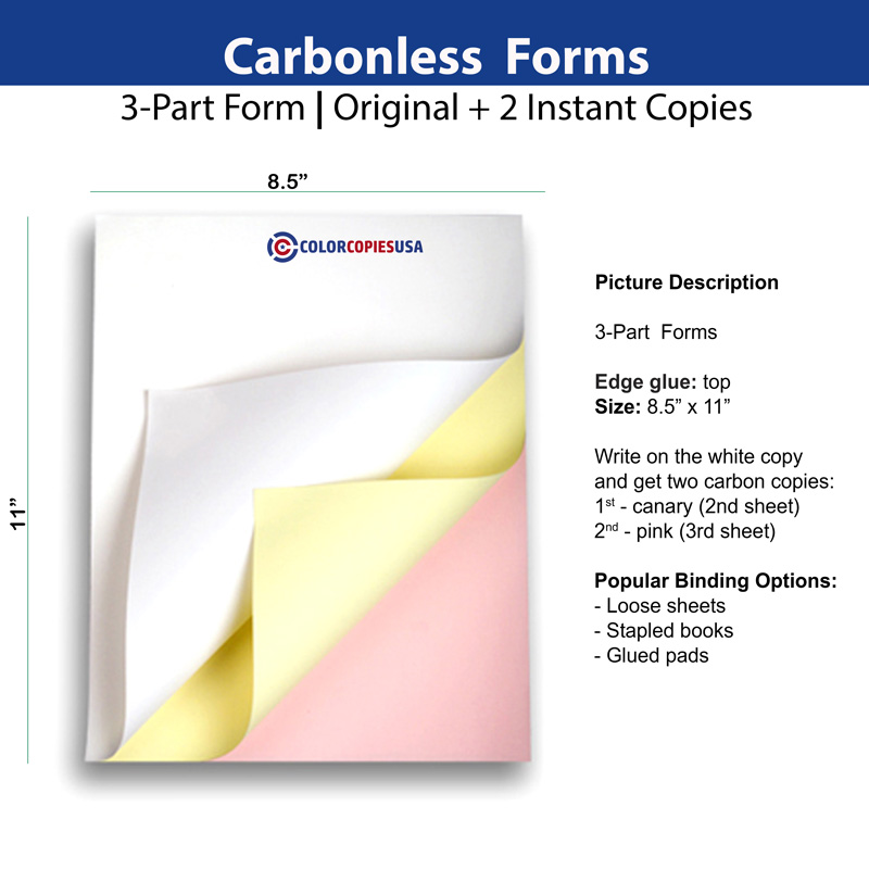 3-part carbonless-NCR form glued on top in this example
