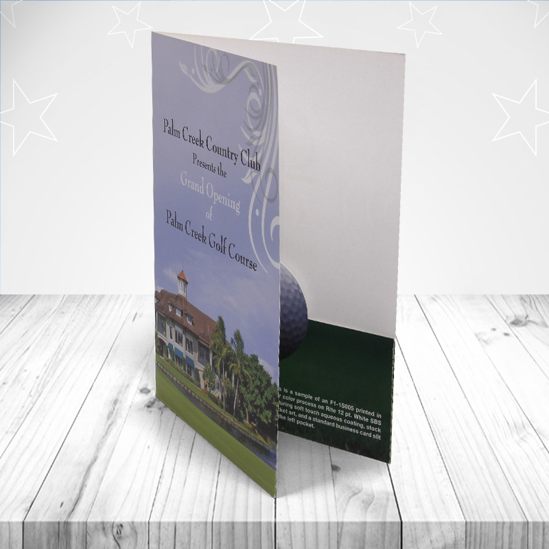 presentation folders perfect for golf clubs across America. The custom cut pockets make it very special