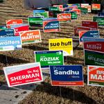 Yard signs used to promote political candidates