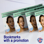 bookmarks with a marketing message