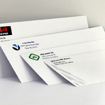 Examples of #10 envelopes printed in single color or full color