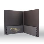 black presentation folder with large spine and expandable pockets