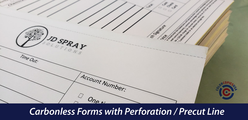 picture showing details of a precut line, which is a perforated line to easily separate the copies of the forms | ColorCopiesUSA.com