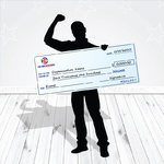 Giant checks recognize donors and winners in the corporate world