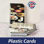 Plastic cards printed in full color to be used as gift certificates. Impossible to duplicate, inexpensive and elegant