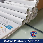 posters printed on cover stock, rolled in groups of 2 and whipped in tubes |ColorCopiesUSArolled