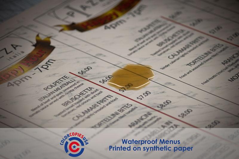 menus printed on synthetic waterproof plastic paper